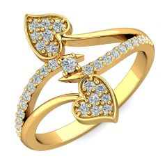 Glitter Bypass Heart Design With CZ Studded Gold Ring