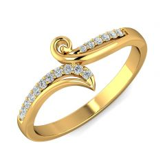 Sparkle Crisscross CZ Studded Design Gold Ring