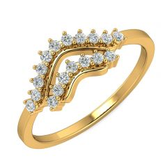 Enchanting Crown CZ Studded Design Gold Ring