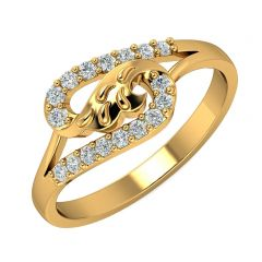 Elegant Swirl CZ Studded Design Gold Ring