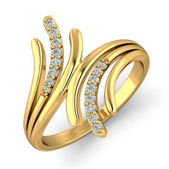 Fancy Crisscross CZ Studded Design Gold Ring