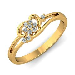 Enlight Floral CZ Studded Design Gold Ring