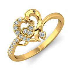 Dazzling Curvy Heart CZ Studded Gold Ring