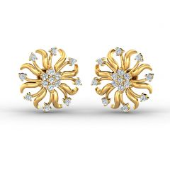 Dazel Fleur Design With CZ Studded Gold Earrings