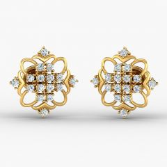 Glossy Finish Curvy Design With CZ Studded Gold Earrrings