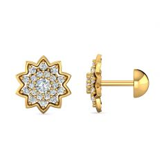 Blooming Floral Design With CZ Studded Gold Earrings