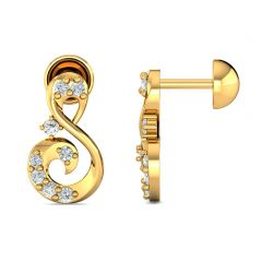 Enchanting Swirling Design With CZ Studded Gold Earrings