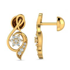 Delicate Twirl Design With CZ Studded Gold Earrings