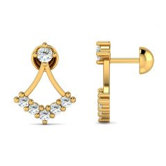 Glittering Tulip Design CZ Studded Gold Earrings