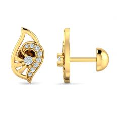Elite Paisely Design With CZ Studded Gold Earrings