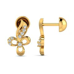 Delight Swirl Floral Design With CZ Studded Gold Earrings