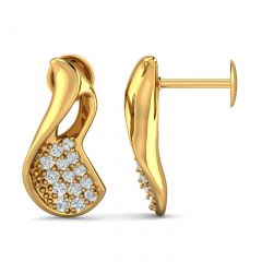 Glossy Finish Scoop Design With CZ Studded Gold Earrings