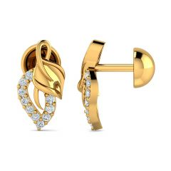 Glossy Finish Leafy Design With CZ Studded Gold Earrings