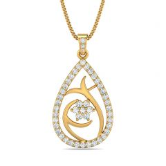 Dazel Dew Drop With Floral Design With CZ Studded Gold Pendant