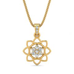 Blossom Floral Design With CZ Studded Gold Pendant