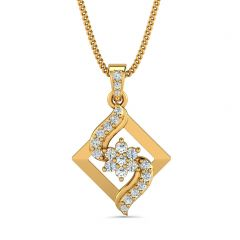 Glossy Finish Diamond Cut Floral Design With CZ Studded Gold Pendant