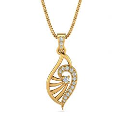 Elite Paisely Design With CZ Studded Gold Pendant