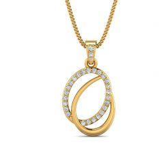 Interlink Design With CZ Studded Gold Pendant