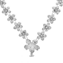 Silver Hibiscus Flower Garland (Mala) For God