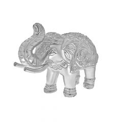Silver Solid Elephants For Home Decor (Set Of Two)