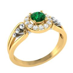 Glittering Semi Precious Stone With Cluster Circle Diamond Rings - SLR15210-DICS