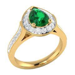 Sparkling Diana Set Drop Semi Precious Stone With Cluster Diamond Rings - SLR15586-DICS
