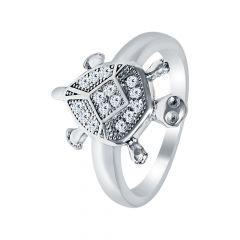 Religious Lucky Turtle CZ Silver Ring