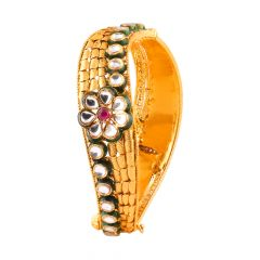 Glossy Textured Finish Red Stone With Kundan Twisted Gold Bangle - SM-ABG161