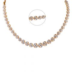 Glossy Glittering Satin Finish CZ Studded Circle Links Gold Chains - SM-CHN162