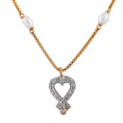 Glossy Glittering Drop Heart With CZ PendantBox With Pearl Studded Chain - SM-CHN168