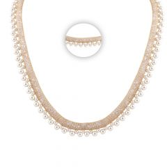 Glittering Mesh Net CZ With Pearl Gold Chain - SM-CHN227