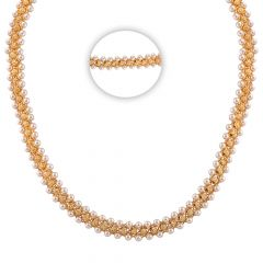 Glossy Glittering Diamond Cut With Pearl Studded Gold Chain - SM-CHN295