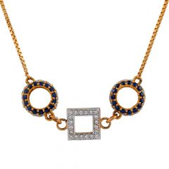 Glittering CZ With Blue Stone Gold Circle Chain - CHN311