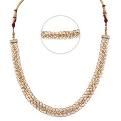 Glossy Finish Pearl With Gold Gold Beads Chain - SM-CHN329