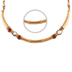 Glossy Finish Engraved Design Synthetic Red And Kundan Studded Gold Chain  - SM-CHN333