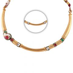 Glossy Satin Finish Engraved Design Synthetic Red With Green Stone Kundan Gold Chain - SM-CHN340