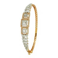 Pear And Buguette Drop Diamond Rose Gold Kada - sonica284