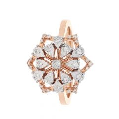 Glittering Prong Set Floral Design Rose Gold Diamond Ring