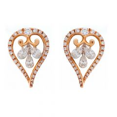 Sparkling Prong Set Pear Round Cut Drop Design Rose Gold Diamond Earrings