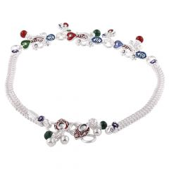 Double Wheat Chain Design Enamel With Synthetic Stone Studded Silver Anklet-SPBS357