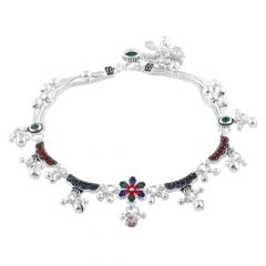 Enamel Box Chain Floral Design With Synthetic Stone Studded Sliver Anklet-SPBS379