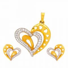 Matte Finish Dual Heart Design With CZ Studded Gold Pendant Set