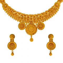 Blossom Traditional Floral Gold Necklace Set
