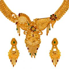 Traditional Filigree Enamel Gold Necklace Set