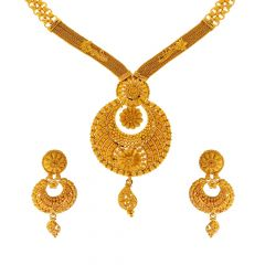 Traditional Embossed Filigree Gold Necklace Set