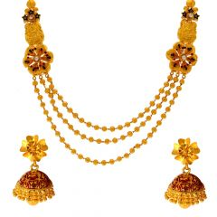 Traditional Temple Enamel Floral Gold Necklace Set