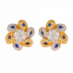 Gloss Finish Rhodium Polish Floral Design With Multicolor CZ Studded Gold Earrings-STP20