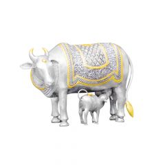 Cow With Calf In Gold Polish Silver Artifact