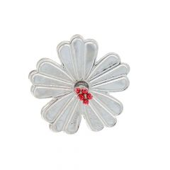 Glossy Finish Enamel Hibiscus Floral Design Silver Artifact