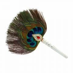 Glossy Finish Pichi Peacock Feather CZ Studded With Synthetic Colour Stone Silver Artifact
